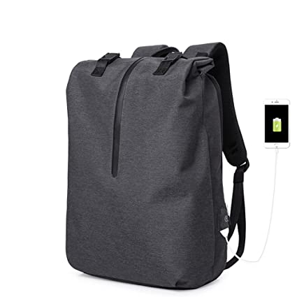 MIMI KING Mochila Para Hombres Ocio Bolsa Ordenador Portátil Con Puerto De Carga USB Tendencia Simple