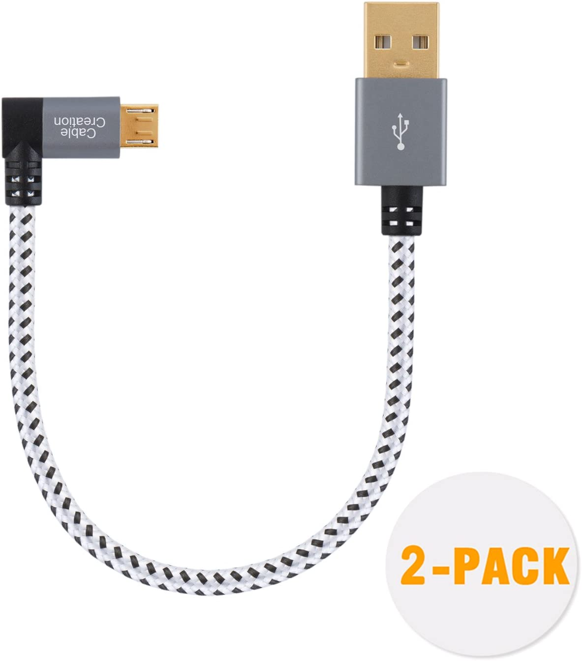 CableCreation 2 Pack Short Right Angle Micro USB 2.0 Braided Cable, 90 Degree USB 2.0 to Micro USB Charging Data Cable Compatible with Roku Streaming Stick, Aluminum Case, 0.5 FT/ 15CM, Space Gray