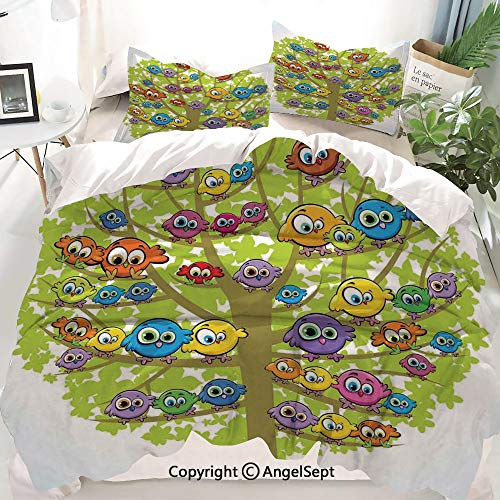 Homenon Funny Decor Duvet Cover Set King Size,Cartoon Group of Fun Colorful Canary Bird Family on Oak Branches Animal Illustration,Decorative 3 Piece Bedding Set with 2 Pillow Shams