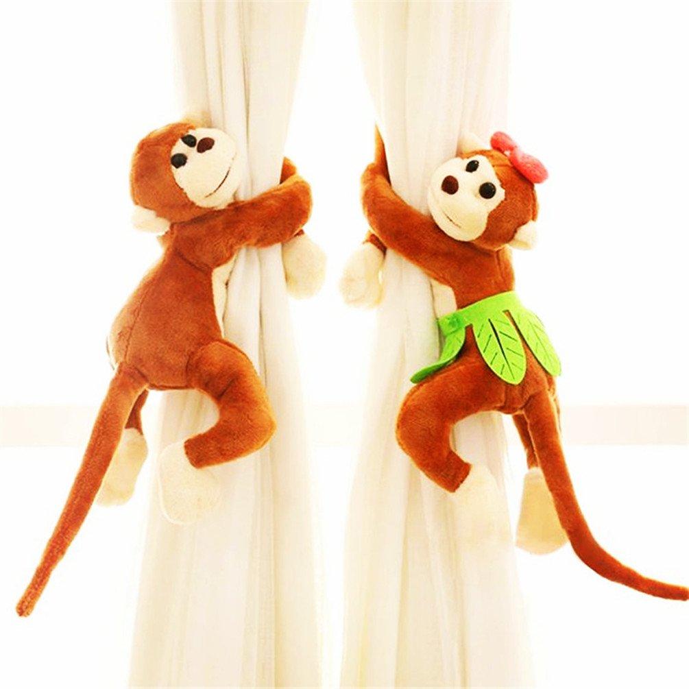 LIANTSH Monkey Pattern Window Curtain Hook Bedroom Buckle Hangers Belt Tieback Buckle Kids Gift Curtain Decorative Accessories -Pack of 1 Pair (Orange)