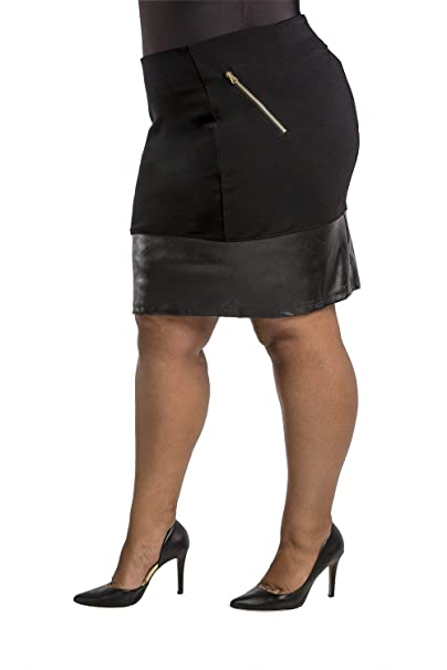 3411e9b91 Poetic Justice Plus Size Curvy Women's Black Ponte Vegan Leather Straight  Skirt Size 1X