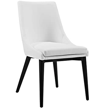 Modway Viscount Fabric Dining Chair in White Vinyl  sc 1 st  Amazon.com & Amazon.com - Modway Viscount Fabric Dining Chair in White Vinyl - Chairs