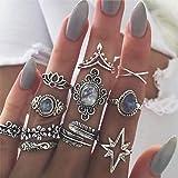 Aimimier 11 Pcs Bohemian Stackable Joint Knuckle Ring Set Carved Flower Star Leaf Gemstone Midi Ring Vintage Finger Rings for