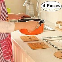 Wood Hot Pads Pot Holders, Magnolora 4 Pack Insulated Non Slip Trivet Mat Set for Kitchen, Hot Pads, Teapot Trivet, Baking, Cooking