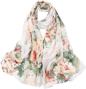 Fashion Women/'s Printed Flower Long Soft Wrap Lady Shawl Silk Scarf Scarves