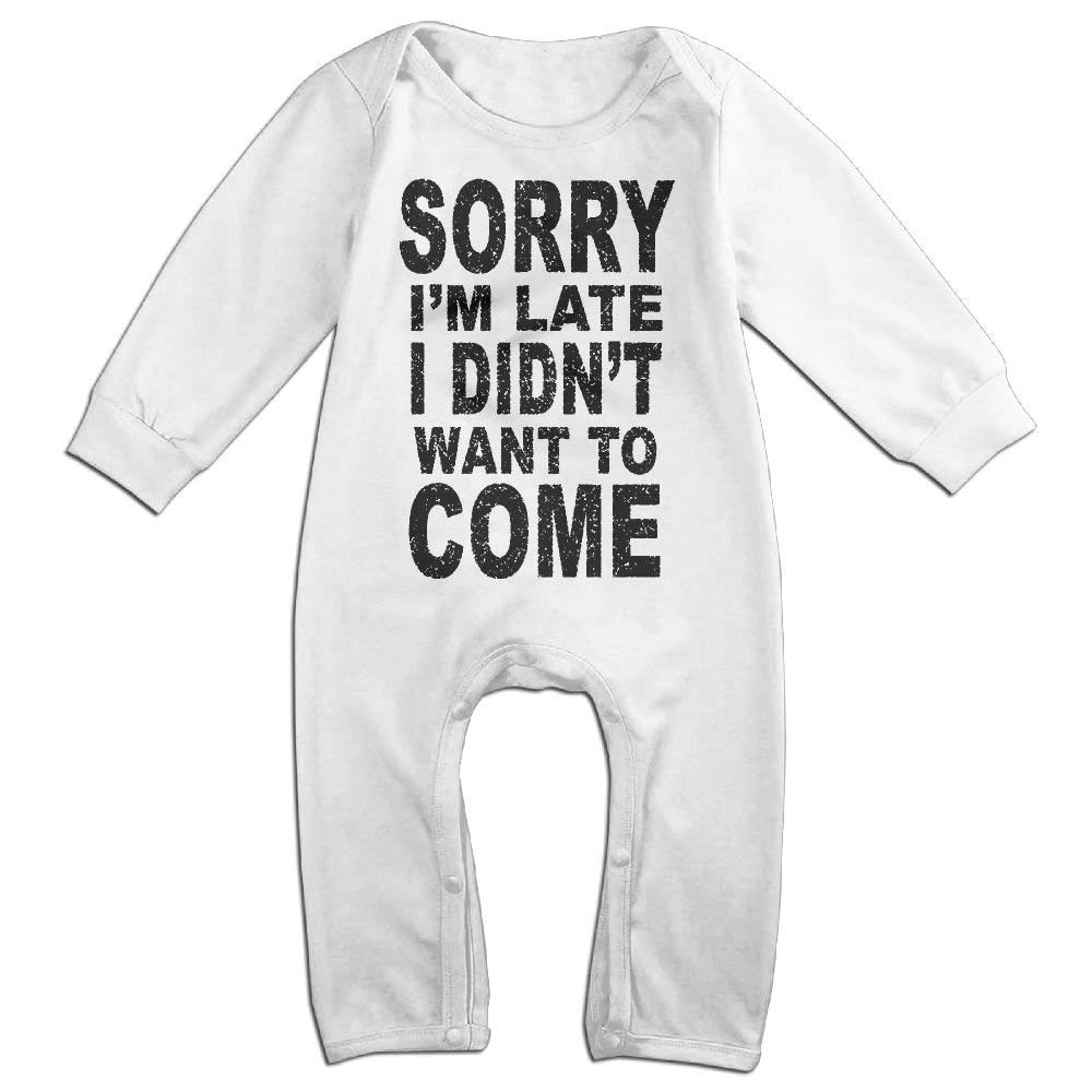 TOPDIY Sorry I'm Late I Didn't Want to Come Long Sleeve Baby Romper Bodysuit Outfits Clothes