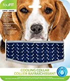Blue Large 15 - 18 Inch Neck Size, Cooling Collar for Dogs, Lowers Canine Body Temp in Hot Summer Weather, Relieves Heat Stress, Non Toxic Cotton Exterior, Just Add Water