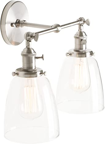Pathson Stylish Vintage Industrial Edison Double Wall Lights Brushed Light Fittings Loft Cafe Bar Kitchen Wall Sconce Lamp Light Fixtures With Bell