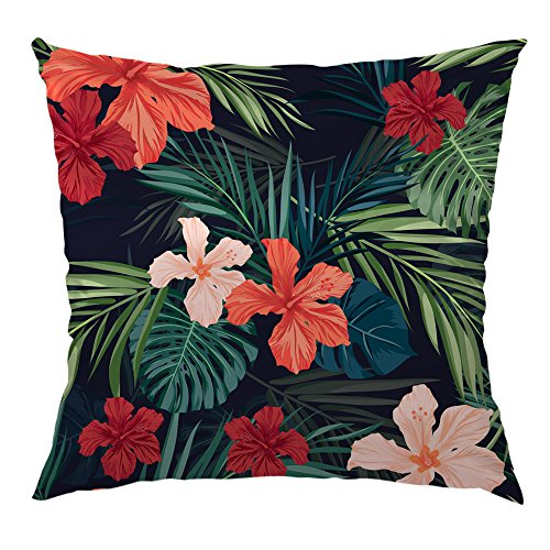 (HGOD DESIGNS Tropical Plants Pillow Case,Flowers in The Palm Trees Banana Leaves Satin Cushion Pillow Cover Square Standard Home/Sofa Decorative for Men/Women 18x18 inch Green,Red,Pink,Navy Blue)