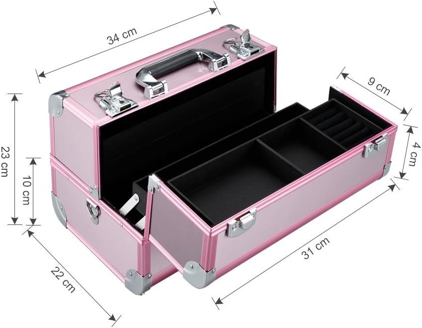LANGRIA Maletín de Maquillaje Estuche Profesional en Aluminio con 4 Bandejas Escalonadas 10 Compartimentos Neceser para Cosméticos y Accesorios con Correa para el Hombro (Rosa): Amazon.es: Hogar