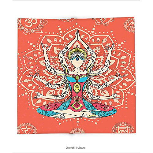 Custom printed Throw Blanket with Yoga Decor Yoga Technique With Ethnic Costume Insignia Zen Discipline Your Body And Mind Artprint Decores Cream Red Teal Super soft and Cozy Fleece Blanket