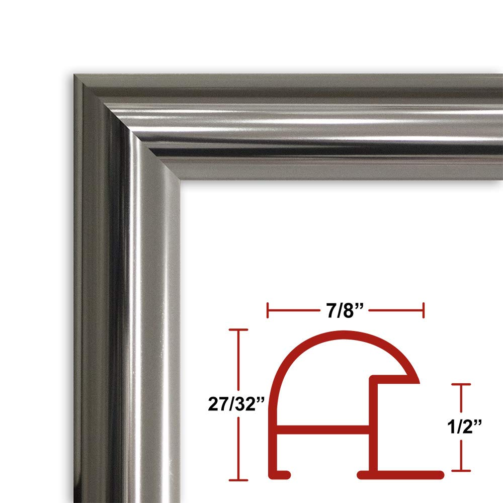 Frame It Easy 21 x 38 Shiny Silver Metal Frame Profile #16