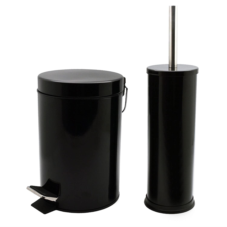 Harbour Housewares Bathroom Pedal Bin and Toilet Brush Set - 3 Litre Bin - Black Finish