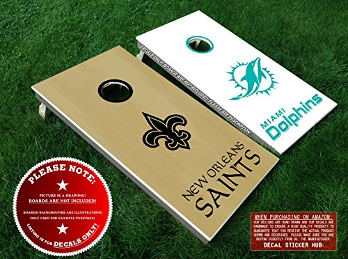 New Orleans Saints and Miami Dolphins Cornhole Board Decals - BLACK & TEAL - 6PC Outdoor Game Sticker Set - DIY Game Board Stickers - DECALS ()