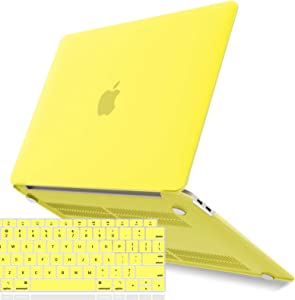 IBENZER MacBook Air 13 Inch Case 2020 2019 2018 New Version A2179 A1932, Hard Shell Case with Keyboard Cover for Apple Mac Air 13 Retina with Touch ID, Yellow, MMA-T13YW+1A