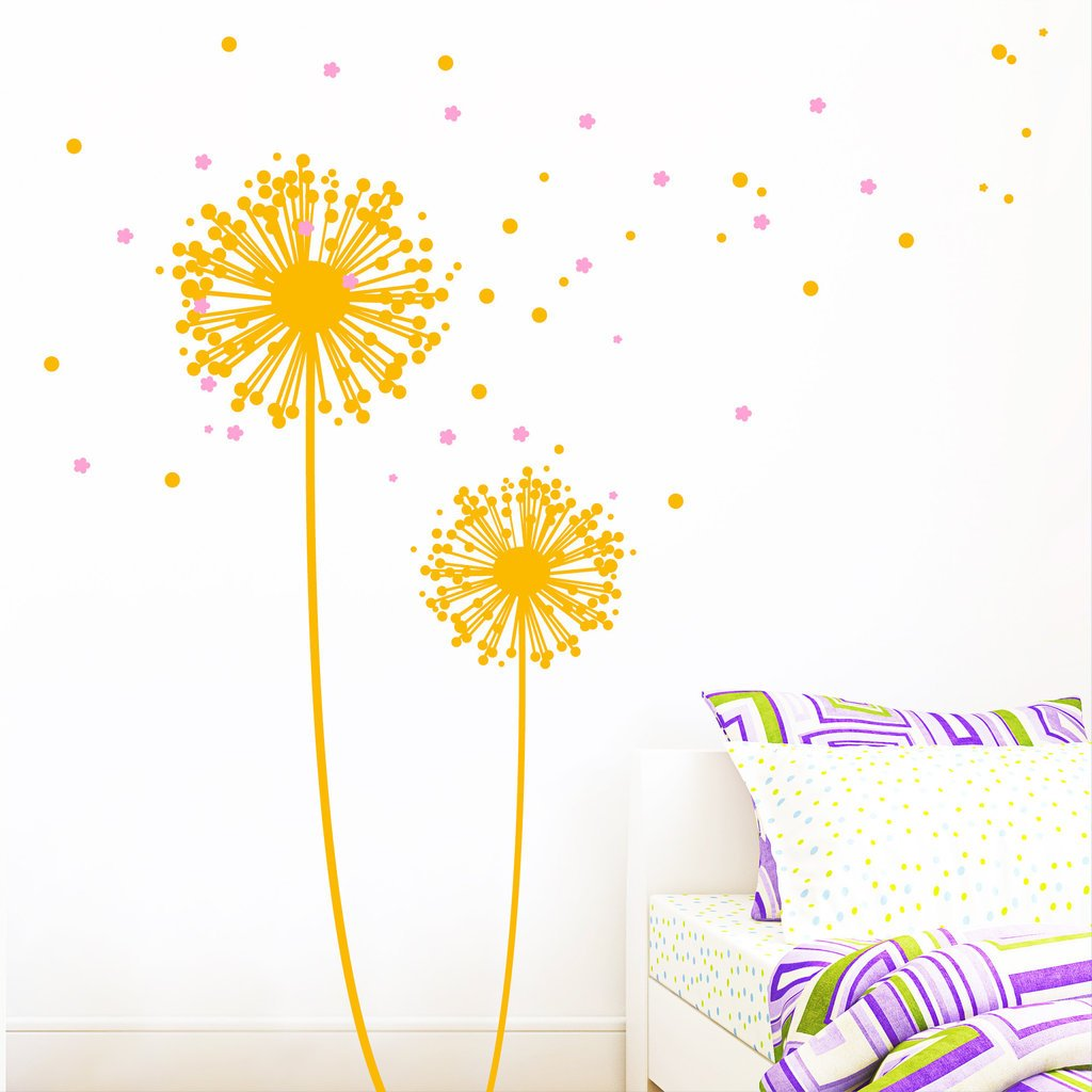 Wall decal Dandelion - Wall sticker in two colours with lots of dots ...