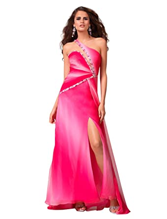 Clarisse One Shoulder Ombre Prom Dress with Side Slit 1527, Pink, 0