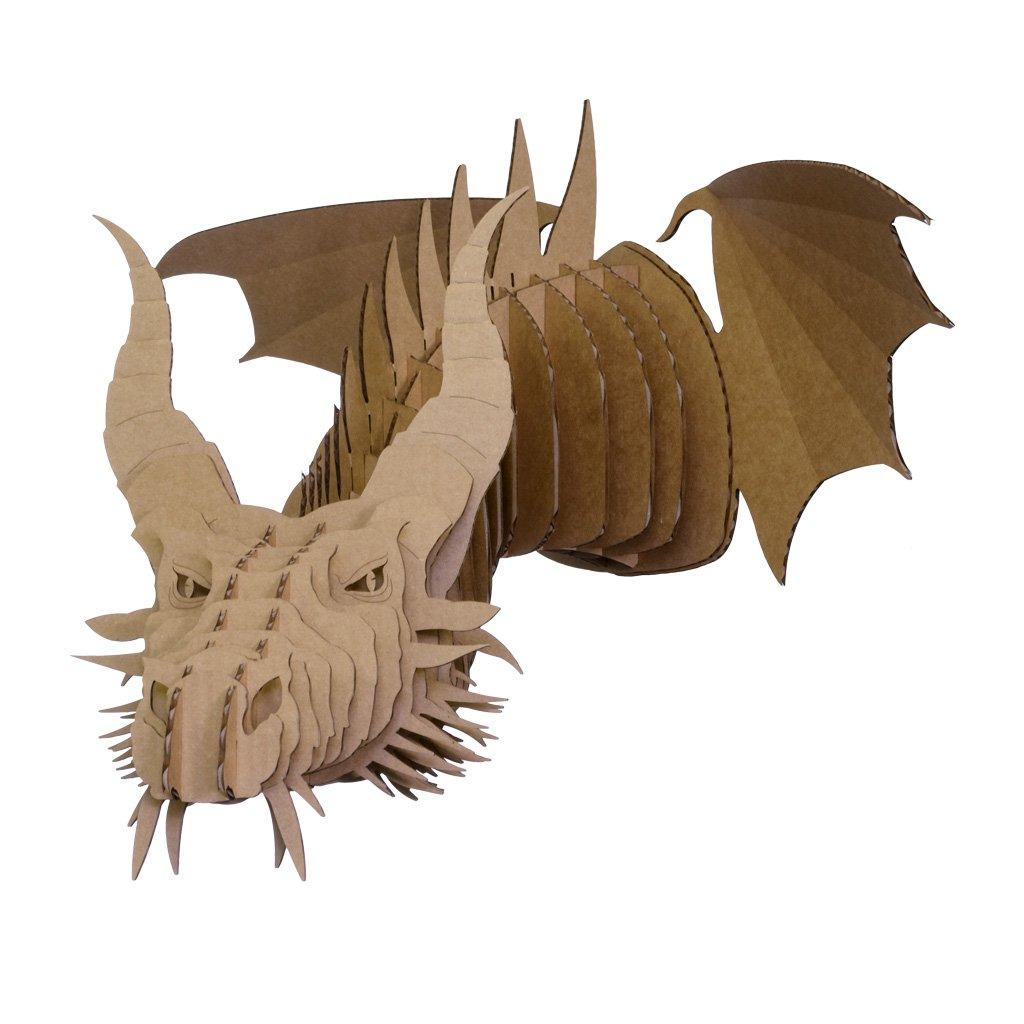 Cardboard Safari Recycled Cardboard Animal Taxidermy Dragon Trophy Head, Nikita Brown Large