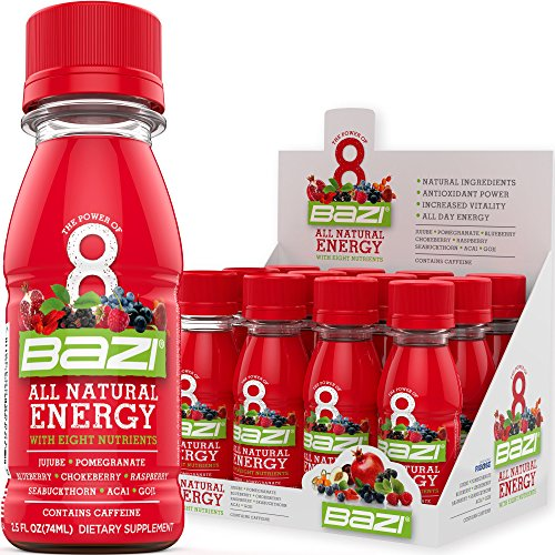 Bazi All Natural Energy Drink 12 Pack - 2.5 oz Liquid Energy Shots Extra Strength - Best Healthy Source of B12 Vitamin and Antioxidants - 8 Superfruits High ORAC D-Ribose to Boost Daily Performance