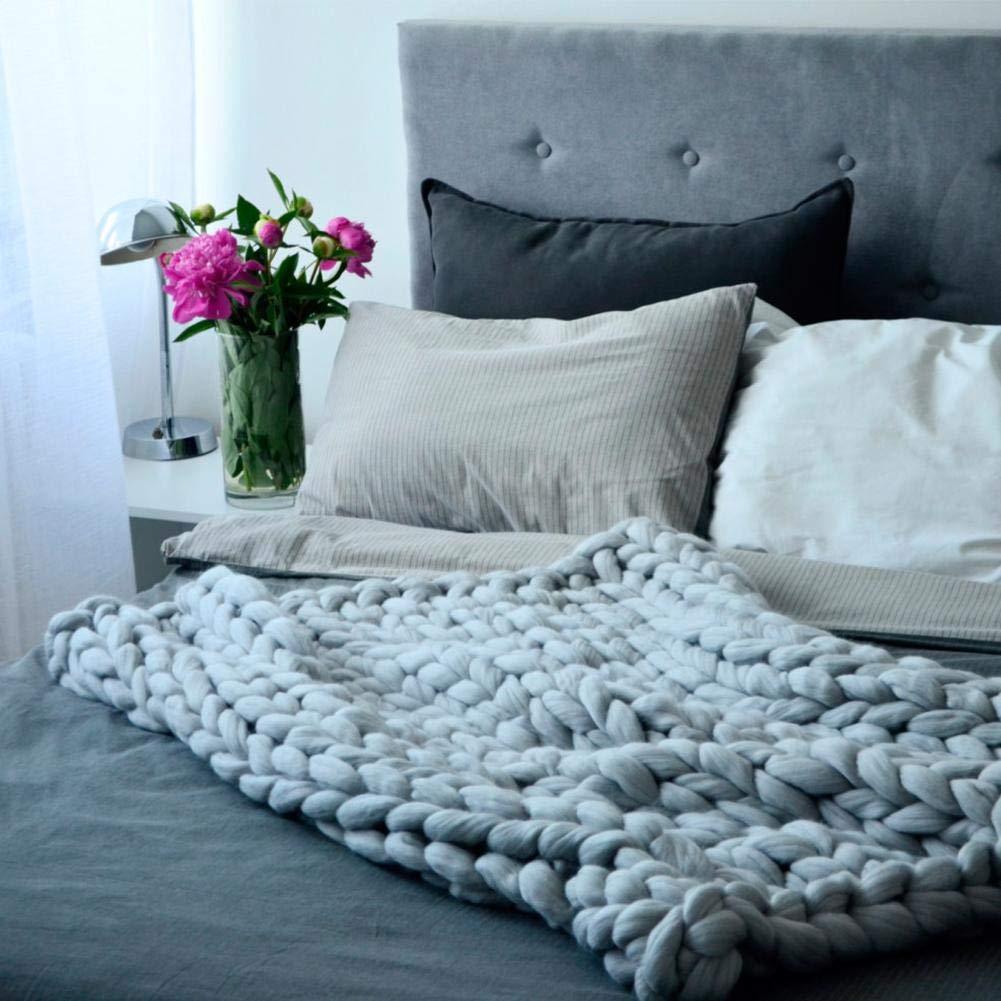 Nordic dicke Wolle handgewebte Decke Strickdecke Sofadecke dicke Decke