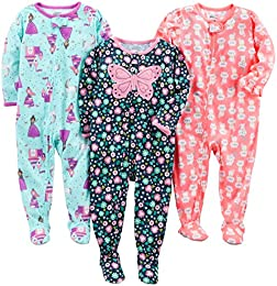 Baby and Toddler Girls 3-Pack Loose Fit Polyester Jersey Footed Pajamas