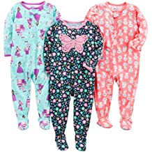 Simple Joys by Carter's Baby Girls' 3-Pack Polyester Footed Pajamas