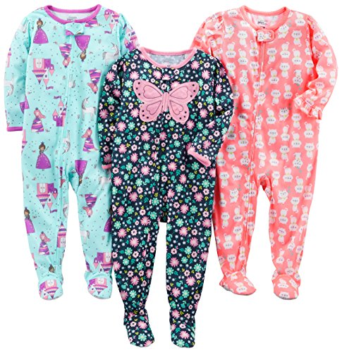 Simple Joys by Carter's Baby Girls' 3-Pack Loose Fit Flame Resistant Polyester Jersey Footed Pajamas, Fairy/Butterfly/Kitty, 24 Months