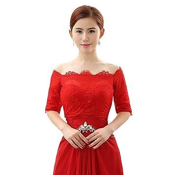 Jungen Mujer Wrap capa robó chal bolero bolero para vestido de novia rojo