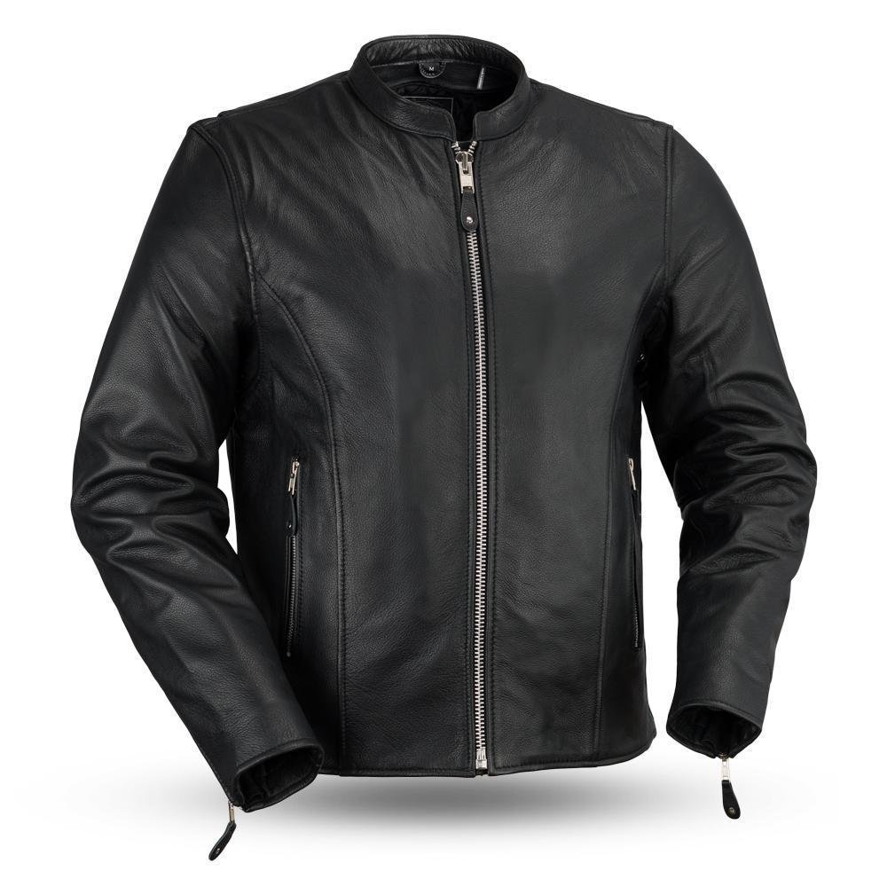 First Manufacturing Mens Motorcycle Biker Soft Cow Leather Clean Look Jacket full sleeve liner New (S Regular)