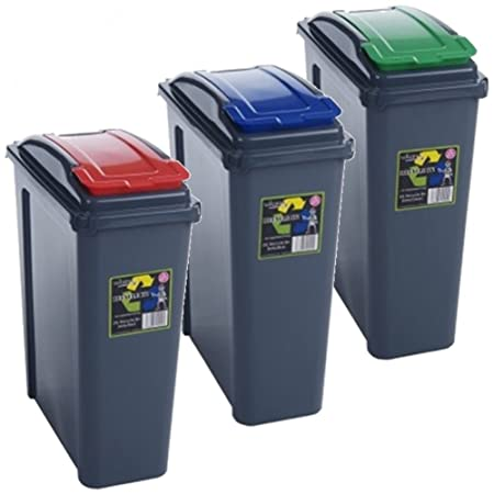 Pack Of 3 Recycling Bins 25L 25 Litre Plastic Recycle Dust Bin Kitchen  Garden (Red