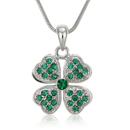Amazon pammyj green four leaf clover pendant necklace 17 jewelry pammyj green four leaf clover pendant necklace 17quot mozeypictures Image collections