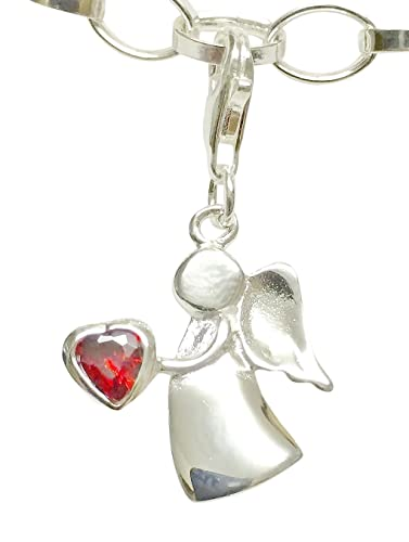Sterling Silver Guardian Angel Birthstone Clip on Charm - January GfLKc