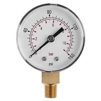 UKCOCO Medidor de presión de vacío para compresor de aire, aceite de agua 0-160 PSI 0-11 bar: Amazon.es: Bricolaje y herramientas