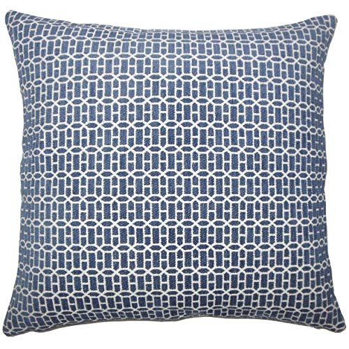 The Pillow Collection Qiao Geometric 24-inch Feather Throw Pillow Lapis