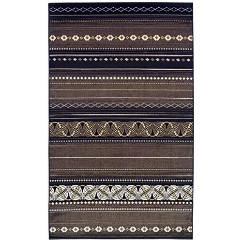 Superior Modern Twilight Collection Area Rug, 8mm Pile Height with Jute Backing, Contemporary Bohemian Stripe Pattern, Anti-Static, Water-Repellent Rugs - Black, 4' x 6' Rug