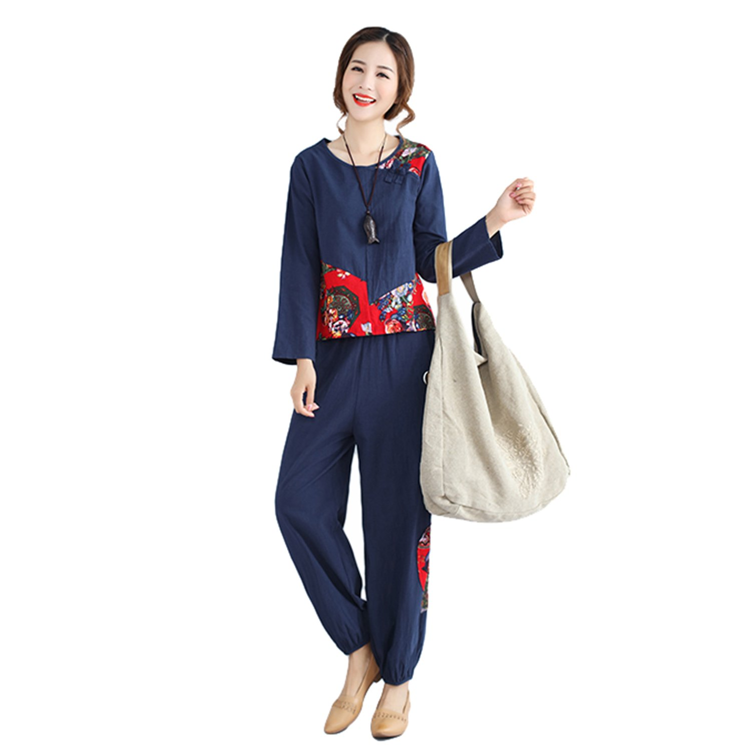 HÖTER Women's Oriental National Style Printed Floral Winter Sport Leisure Cotton Pants Suit(Two Pcs/Set)