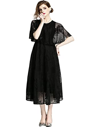 Innifer Womens Elegant Floral Lace Cocktail Party Swing Dress/Wedding Gown Evening Dress with Cape