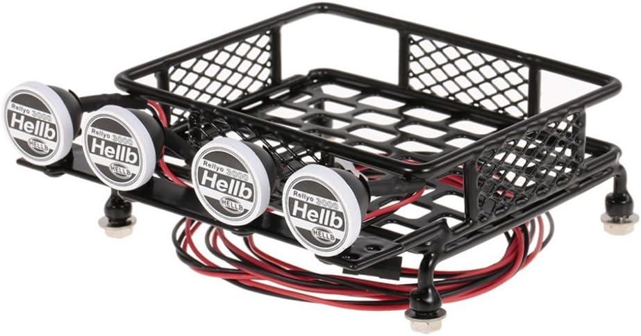 113 x 107 x 45mm Carr/é Sharplace M/étal Cadre Porte-Bagages de Toit avec 4 Blanc LEDs Lampe Eclairage L/éger de Voiture descalade pour 1//10 Traxxas TRX-4 RC V/éhicule