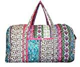 Bohemian Prints Quilted Large 22 inch Duffle Bag (Boho – Pink)