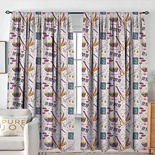Petpany Blackout Curtains Music,Instruments Drums Speakers Keyboard Headphones Records Blues Music is My Life Theme, Multicolor,Rod Pocket Curtain Panels for Bedroom & Kitchen 60