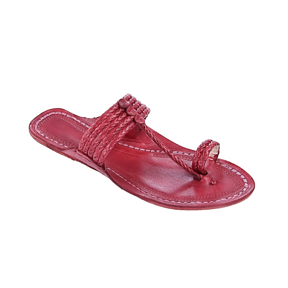fa0893dec405d7 original kolhapuri chappal Remarkable cherry red five braids braids braids  kolhapuri men chappal slipper sandal B0784K6SW1 Sandals 19cdf1