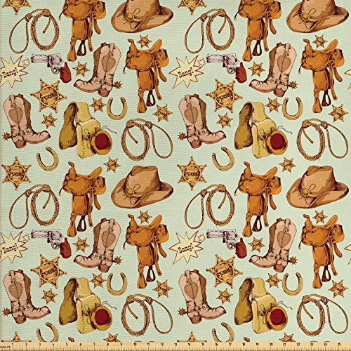 Western Decor Fabric by the Yard by Ambesonne, Wild West Cowboy Pattern with Lasso Horse Saddle Sherrif Star Boots Revolver Pistol Horseshoe, Decorative Fabric for Upholstery and Home Accents (Wild West Craft Ideas)