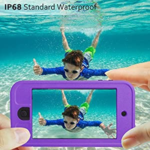 Comsoon iPod 5 iPod 6 Waterproof Case,[Dustproof Sweatproof][IP68 Certified]iPod Touch Defender Case Built-in Touch Screen & Kickstand for Both Apple iPod Touch 5th & 6th Generation
