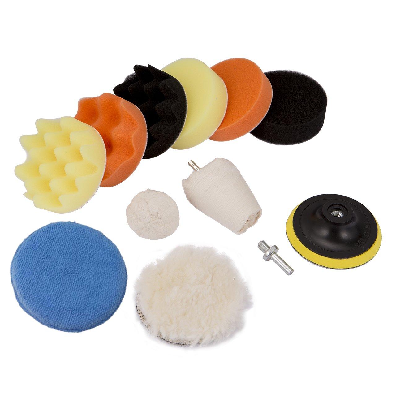 DEDC 4inch/100mm Sponge Polishing Waxing Buffing Pads Set Compound Drill Adapter Kit 11Pcs for Car Sanding Polishing Waxing Sealing Glaze