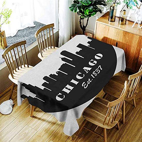 XXANS Tablecloth,Chicago Skyline,American Town Famous Urban Design in Black I Love Chicago Architecture,Dinner Picnic Table Cloth Home Decoration,W60X90L Black and White