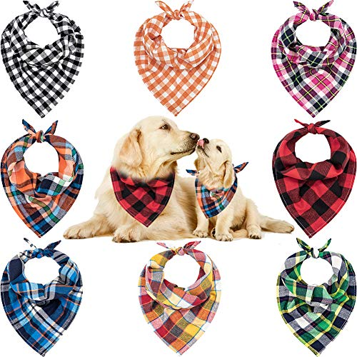 Dog Bandana – 8 PCS Birthday Gift Washable Dog Bandana – Triangle Red Black Green Blue Orange Pink Plaid Printing Dog Bibs Kerchief Set Scarf Accessories for Small to Large Dogs Puppies Cats Pets