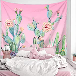 LANG XUAN Pink Cactus Tapestry Wall Hanging, Flower Wall Tapestry Plant Art Wall Blanket for Bedroom Living Room Dorm Home Decor (Pink Cactus, 150X200CM L:59X79inch)