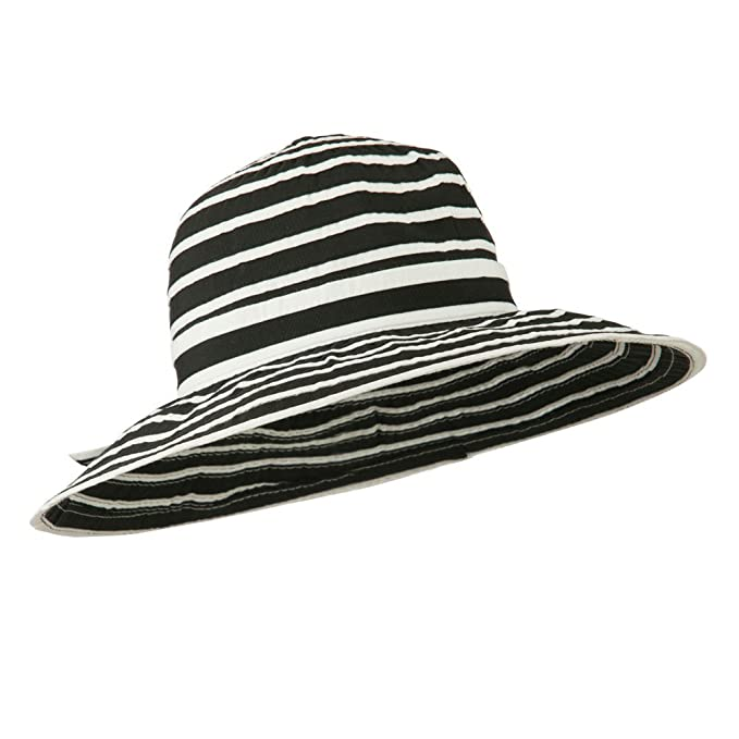 6d8cb8c79d108 UPF 40+ Striped Crushable Sun Hat - Black White OSFM at Amazon Women s  Clothing store