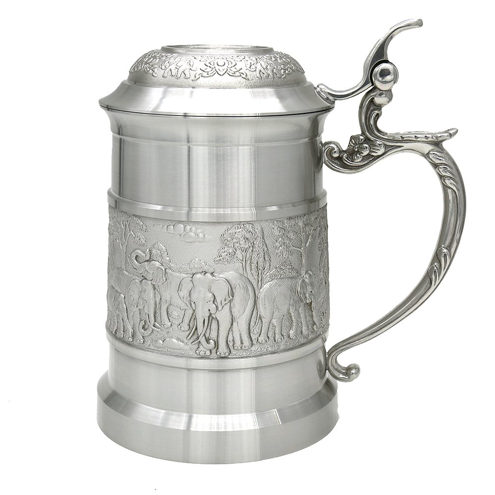 Oriental Pewter - Pewter Mug (with Cover) Pure Tin 97% Lead-Free Pewter BJCL Hand Carved Beautiful Embossed Handmade in Thailand