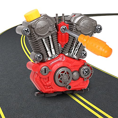 COLORTREE Boys Build-Your-Own Engine Play Set and Power Drill Kit Prented Toy